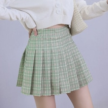 Pleated skirt skirt female 2021 new summer anti-glare college wind high waist Korean fruit green a-l