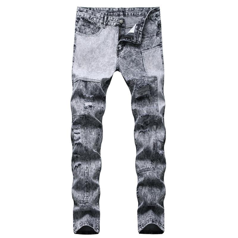 Джинсы мужские в стиле пэчворк, рваные узкие джинсы, прямые брюки-карандаш, модные повседневные рэп джинсы в стиле хип-хоп