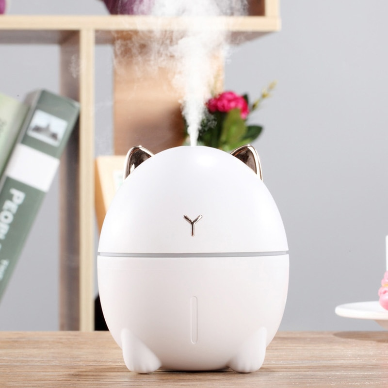 Mini humidificador de aire 200ML difusor de aromaterapia de gato lindo ambientador de aire de coche difusor ultrasónico de USB difusor de niebla de agua para el hogar
