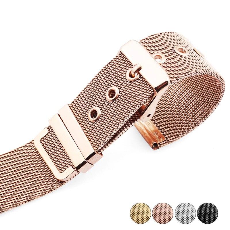 Haute qualité 14mm 16mm 18mm 20mm 22mm bracelet de montre or rose acier inoxydable maille mince pour quartz montres Bracelets livraison gratuite