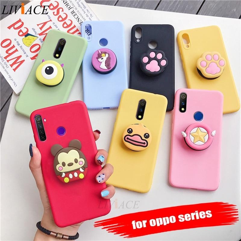 Чехол-держатель для телефона с 3D рисунком для oppo realme xt x2 pro x lite q 3 5 pro c2 c1 мягкий силиконовый чехол-подставка с милым животным