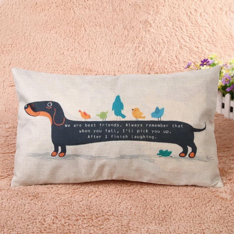 Funda para almohada de dibujos animados creativos de Dachshund de algodón decorativo funda para cojín funda para perro salchicha funda de almohada textil para el hogar