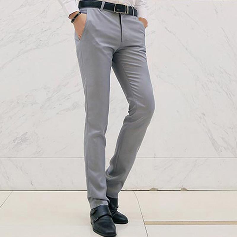 New Autumn Men Pants Casual Solid Color Trousers Men Slim Pencil Pants for Men Office Plus Size Trousers Male Pants Straight Mid