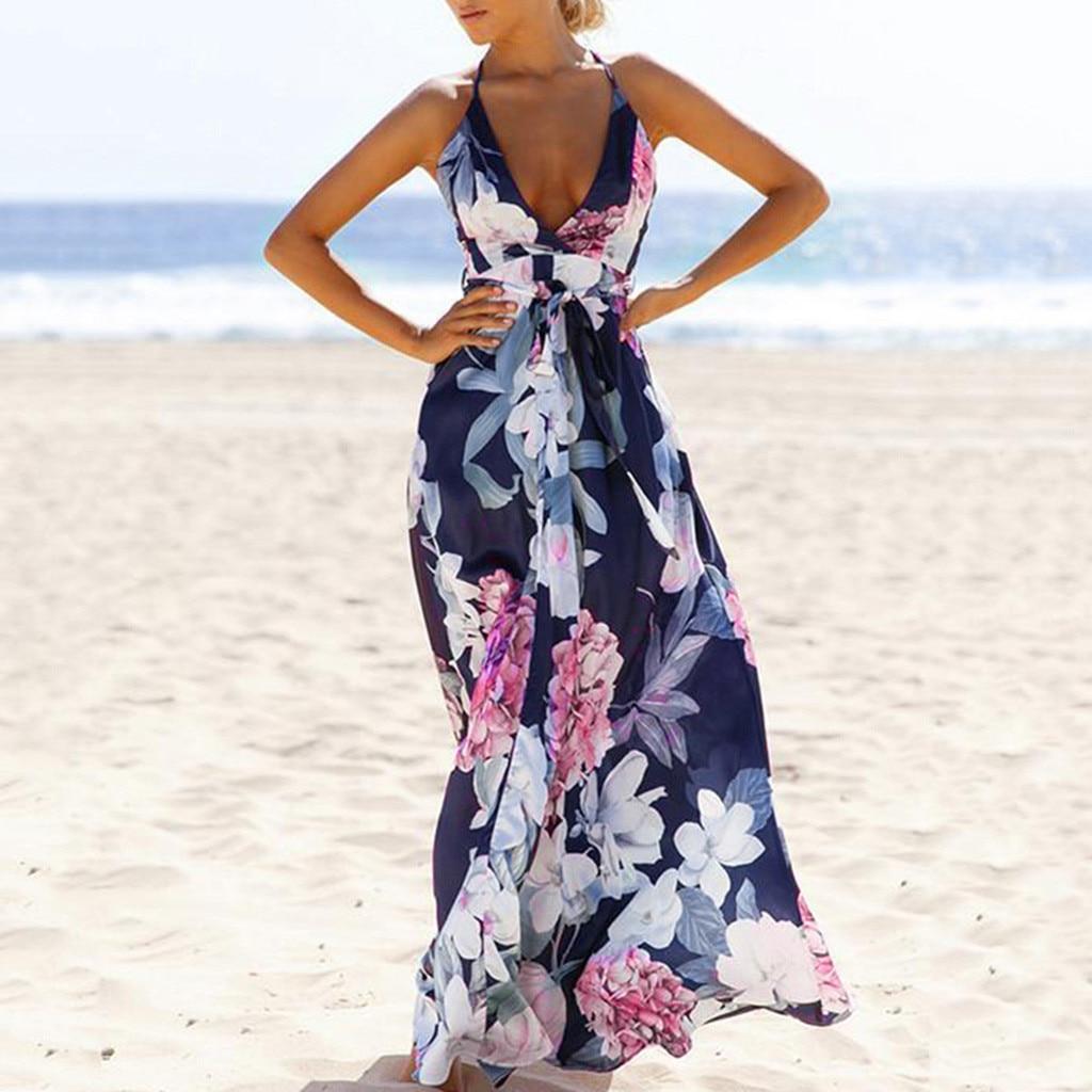Vestido estampado Floral para mujer, vestido largo Sexy sin mangas con Espalda descubierta, vestido de verano para señora con cuello en V, elegante bohemio para playa, Sukienka # LR4