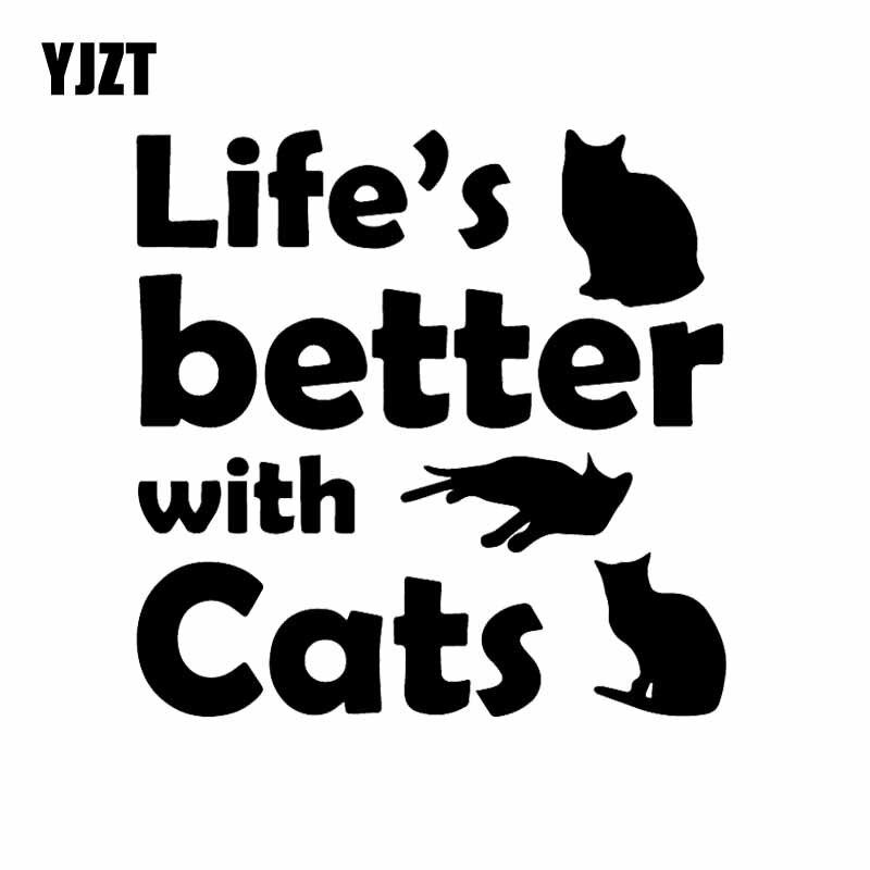 YJZT 15,1X15 CM Lebensdauer der Besser Mit Katzen Lustige Auto Fenster Aufkleber Vinyl Auto Aufkleber Kätzchen Haustiere Schwarz /silber C24-1694