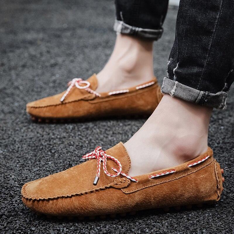 حذاء موكاسين من جلد الغزال للرجال ، حذاء بدون أربطة ، خفيف الوزن ، للقيادة ، جودة عالية
