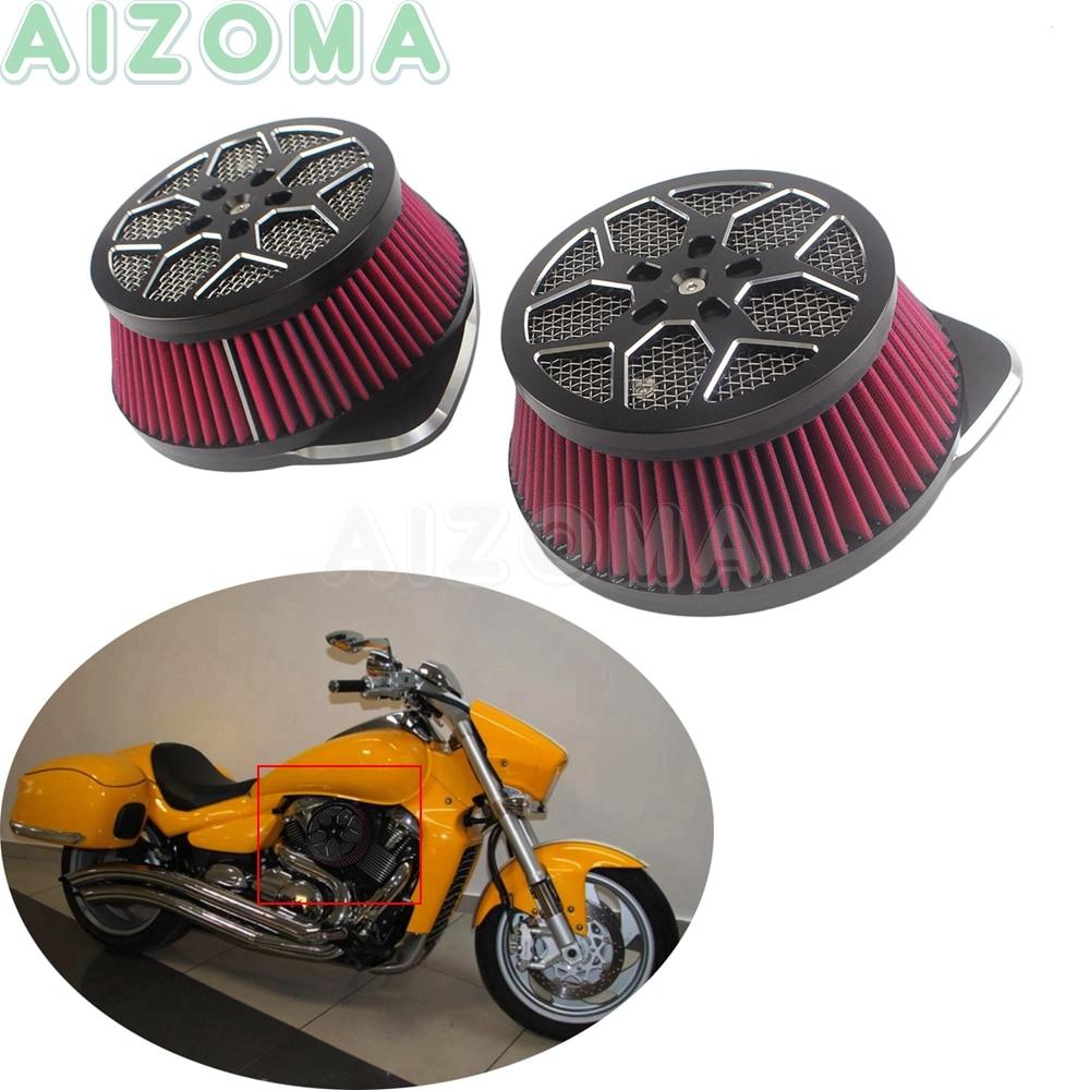 2x motocicleta grande doble filtro de aire Filtro de Kit para Suzuki Boulevard VLR1800 C1800R intruso 1800, 2006-2019 M109 R Jefe