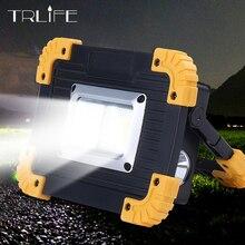 Éclairage LED chaude Portable projecteur Lampe lanterne Camping Lampe projecteur USB travail lumière 18650 Lampe de poche batterie externe avec boîte
