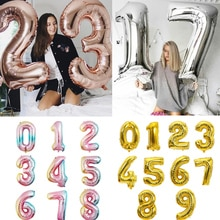 Big Size Gold Sliver Rose Gold Number Balloon Birthday Wedding Party Decorations Foil Balloons Kid B