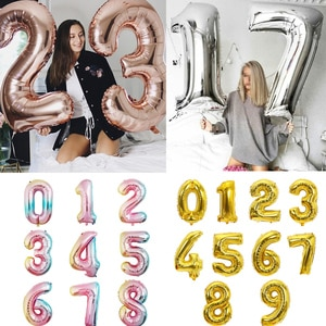 Big Size Gold Sliver Rose Gold Number Balloon Birthday Wedding  Party Decorations Foil Balloons Kid Boy toy Baby Shower