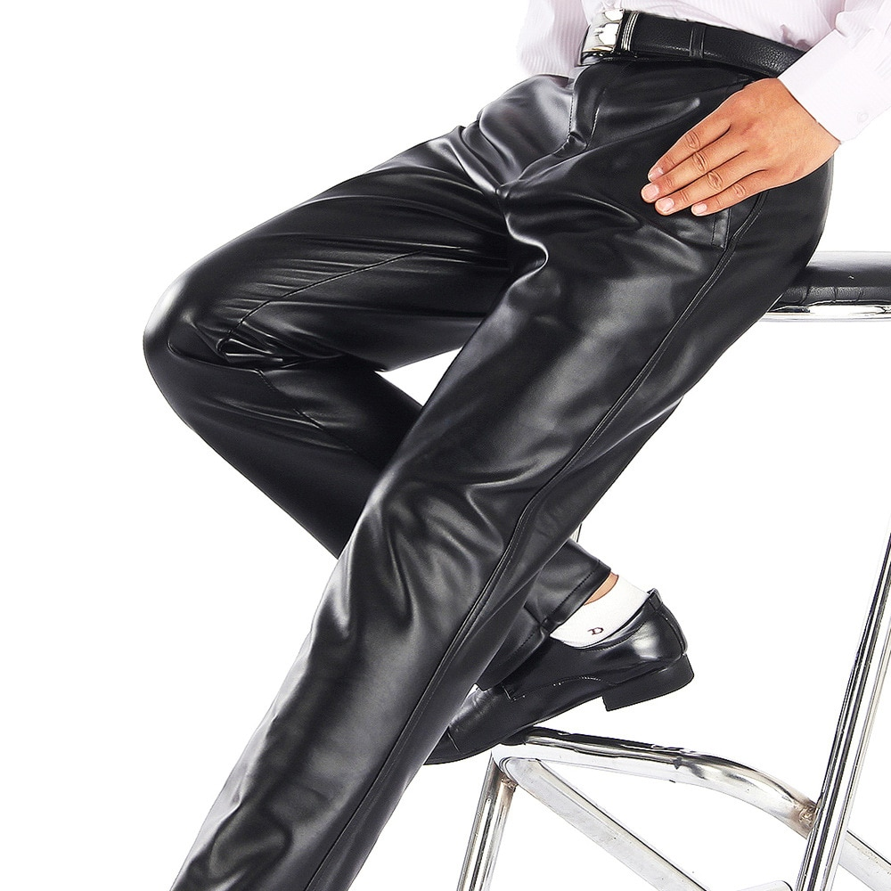 Summer Men Leather Pants Working Elastic Lightweight Smart Casual PU Leather Trousers Thin Motor Pants Plus Size