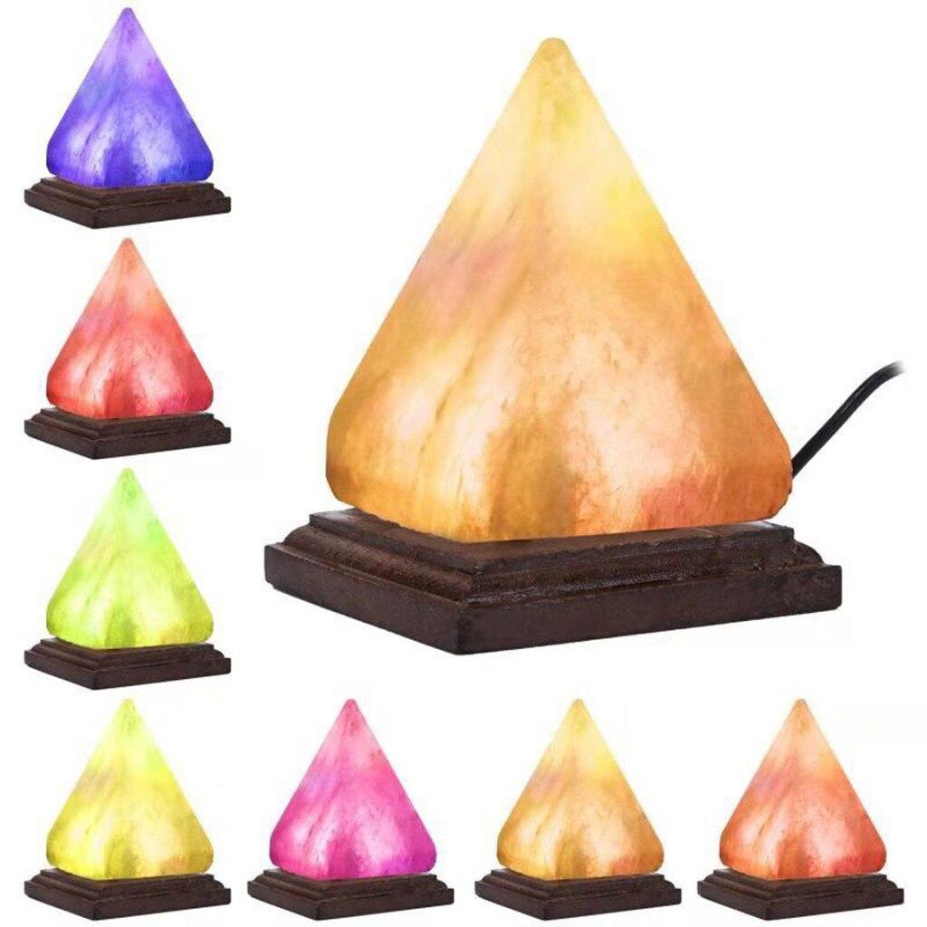 Lámpara De noche De pirámide, purificador De aire Natural, lámpara De sal, cristal cambiante De roca De iones, luz nocturna, lámparas De mesa para el dormitorio # N