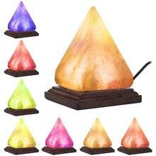 Piramida noc światło naturalne oczyszczacz powietrza lampa solna Ion Rock zmiana kryształ noc światło Lamparas De mesa para el dormitor # N