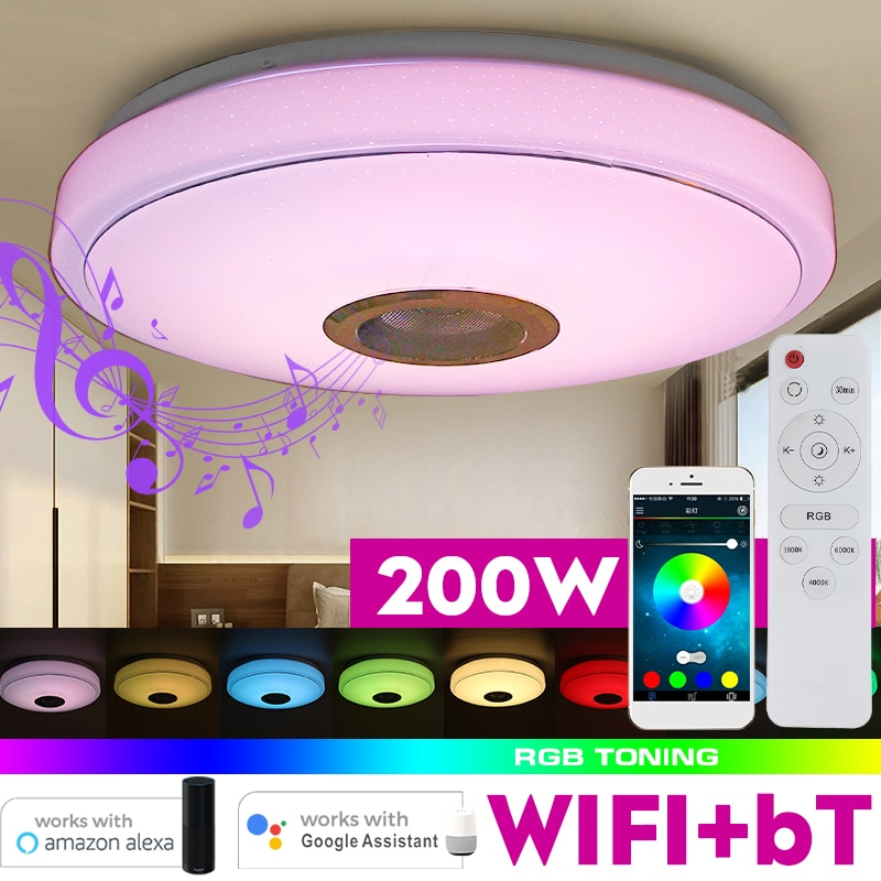 200W WiFi Modern RGB LED Ceiling Lamp Home Lighting APP bluetooth Music Light Bedroom Lamp Smart Ceiling Light + Remote Control