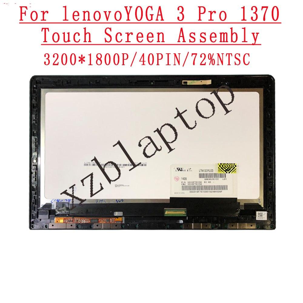 شاشة لمس LCD أصلية ، 13.3 بوصة ، 3200 × 1800 ، IPS ، 40 دبوس ، 72% NTSC ، لجهاز Lenovo Yoga 3 Pro 1370 ، تجميع LTN133YL03 FRU 5D10F76130
