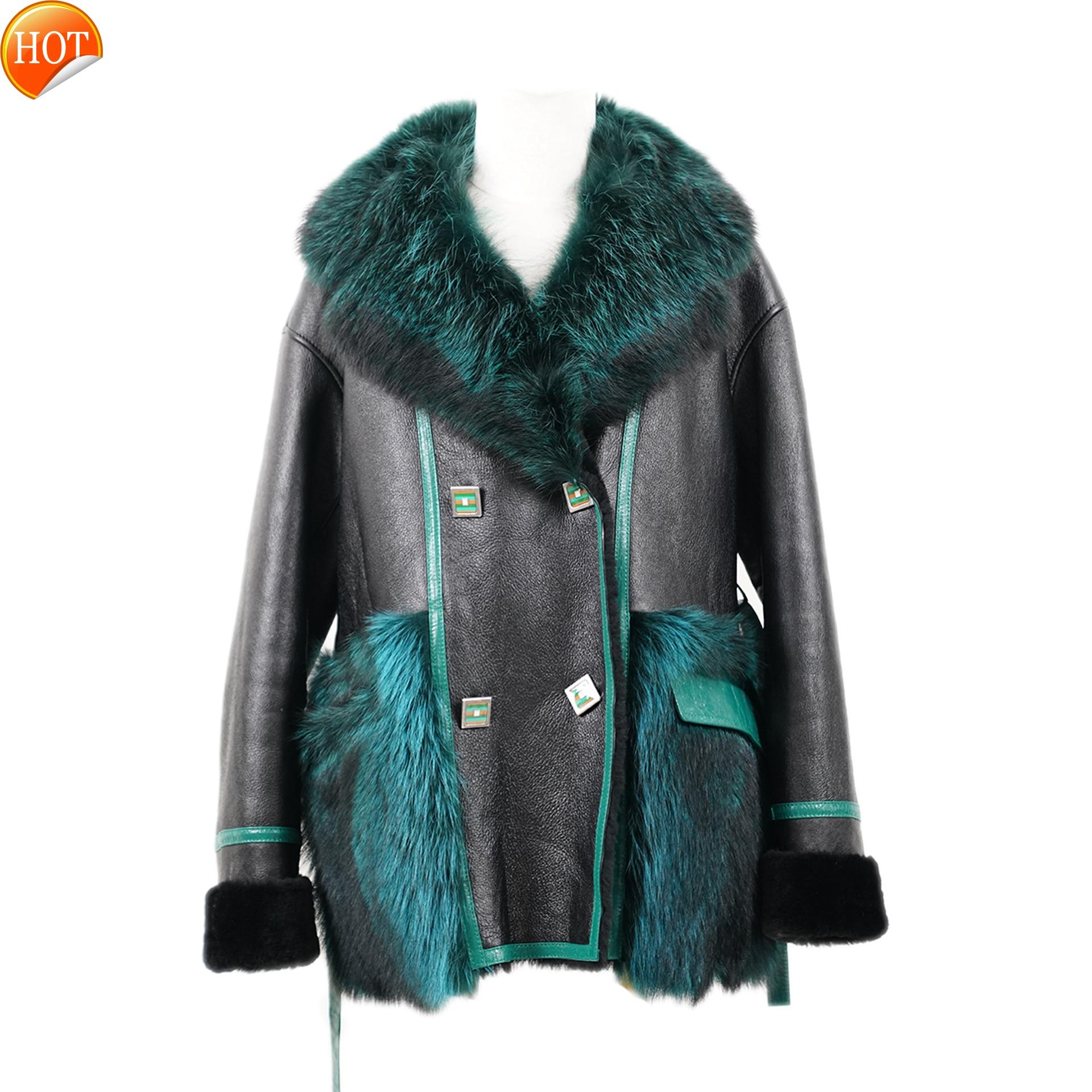 معطف شتوي جديد 2021, ملابس شتوية جديدة من جلد الغنم ، دمج ، أسلوب أنيق من الفراء الفاخر