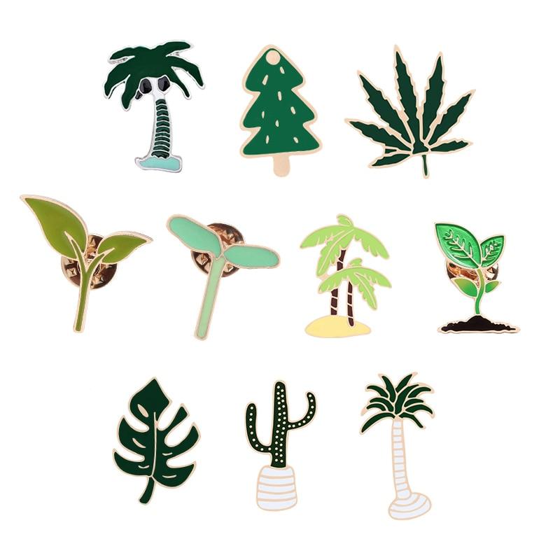 Женская эмалированная брошь в форме цветка кактуса, зеленая брошь в форме листа травы, значок для сумки, куртки, шляпы, лацкана, модные ювели...