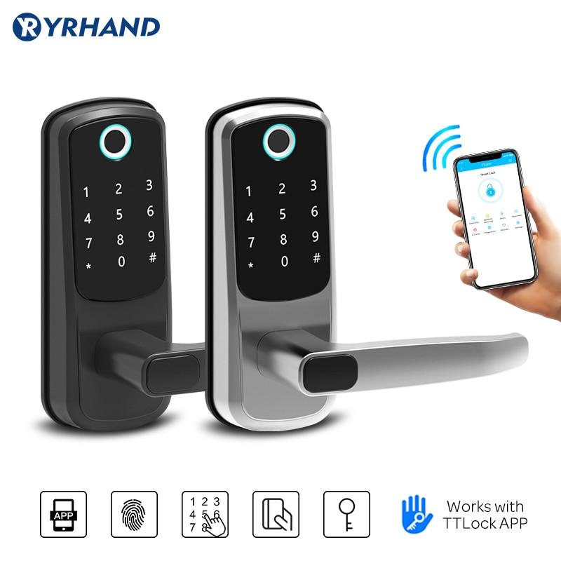 Get fingerprint door lock Smart Fingerprint Bluetooth IC Card Password APP Security Door Lock with Mechanical Key smart lock
