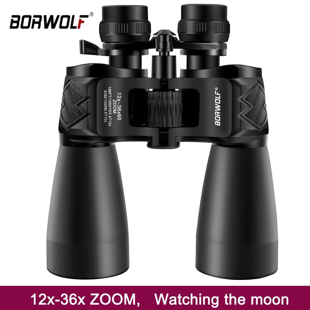 Borwolf-مناظير تكبير احترافية عالية الدقة 12-36 × 60 ، مناظير للرؤية الليلية