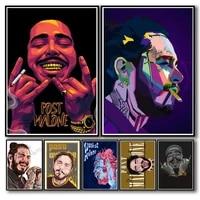 WTQ     affiche retro Malone Alternative de rappeur Hip Hop  toile  peinture abstraite  decor mural  decoration de salle