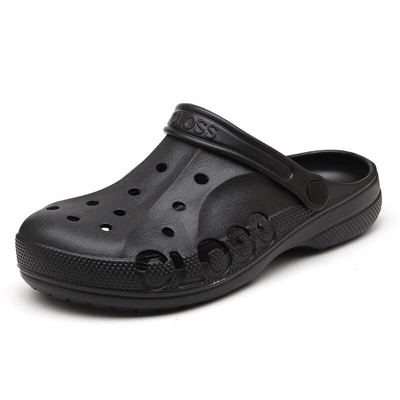 New Men Sandals Crocks Summer Hole Shoes Crok Material PU Garden Shoes Black Beach Flat Student Sandals Slippers
