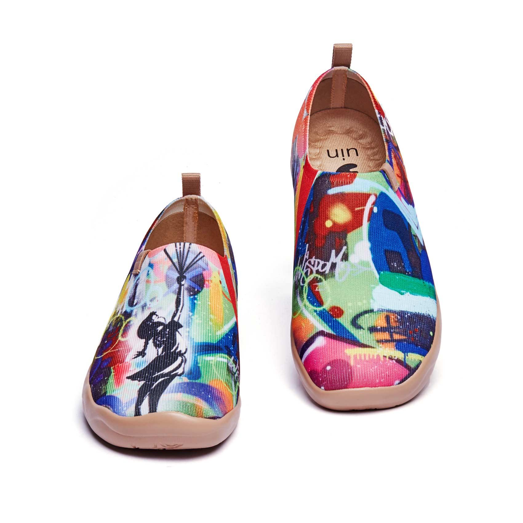 UIN-حذاء موكاسين نسائي خفيف الوزن ، حذاء كاجوال مريح للمشي ، حذاء سفر برسومات فنية بالزهور