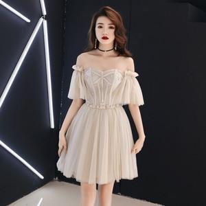Evening Dress Elegant Banquet illusion Evening Gown Slash neck Brilliant Birthday Party Formal Dress Asian Women Prom Dresses