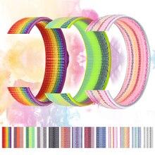 Bracelet pour Apple montre bracelet Apple montre 5 44mm 40mm iwatch 4 3 2 bande 42mm 38mm Sport boucle arc-en-ciel Nylon boucle bracelet bracelet de montre