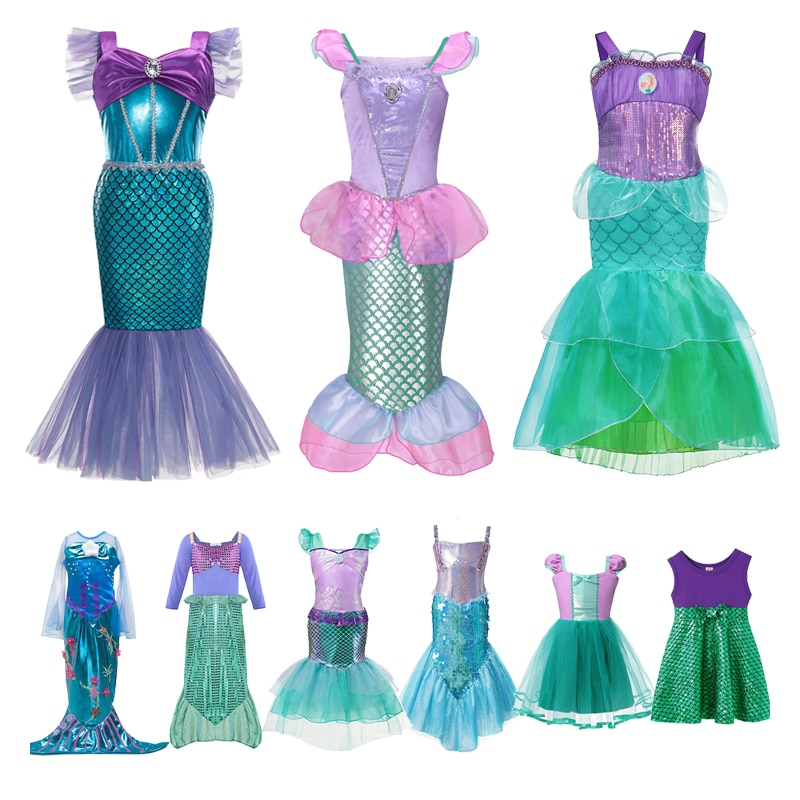 AliExpress - VOGUEON Girls Princess Dress Ariel Sequins Little Mermaid Costume Children Fancy Birthday Party Dress Up Outfit Clothes for Girl