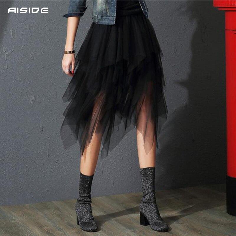 Saias das mulheres tule faldas mujer moda 2020 moda elástica cintura alta malha maxi plissado longo midi tutu saia jupe