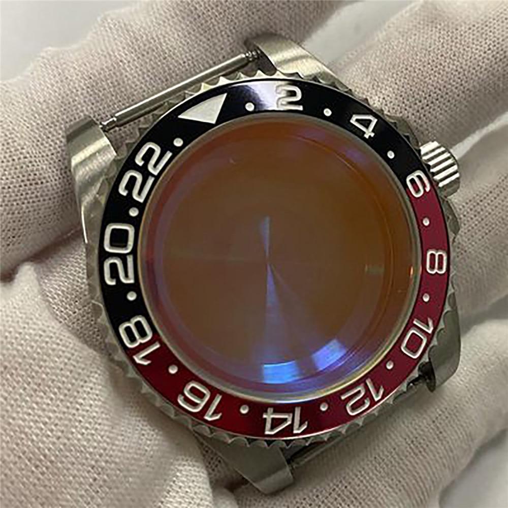 Moldura de Alumínio Case para Nh35 Substituição Assista Movimento Cerâmica – Vidro Safira Concha Case Peças Reparo 40mm Nh36