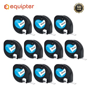 10pcs 12mm*4m 12267 91201 Label Tapes Compatible DYMO LetraTag LT-100H Label Maker 92102 91203 91204 91205 91208