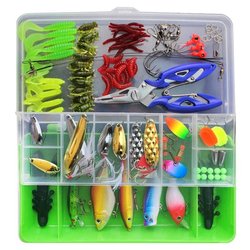 Juego de señuelos de 101 uds, cebos de cuchara duros VIB, anzuelos de pesca, Spinner Crankbait para piscardo Popper, aparejos de pesca, accesorios para cajas
