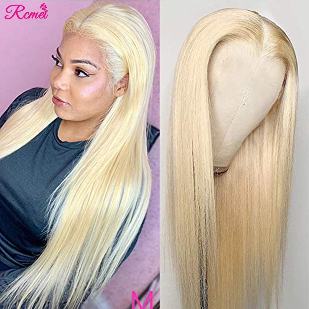 Middle Part Glueless 613 Human Hair Wig Honey Blonde Part Lace Front Wig Brazilian Straight Lace Pre
