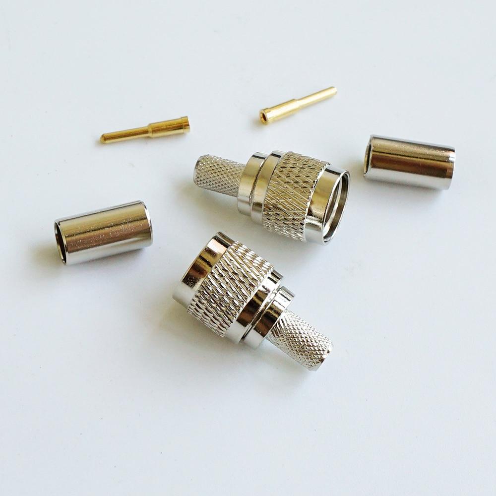 MINI UHF miniUHF Plugue Macho RF Coaxial Conector Socket Crimp para RG58 RG142 RG223 RG400 LMR195 Coaxial RF Reta Níquel banhado