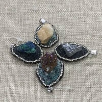 natural crystal azurite pendant irregular shaped diamond inlaid color crystal pendant making charm jewelry earring accessories