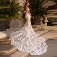 sevintage mermaid wedding dresses luxury lace appliqued bridal gowns sweetheart off the shoulder backless bride dress 2021