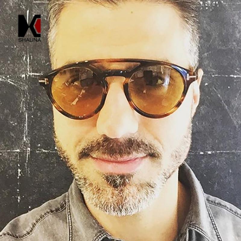 SHAUNA, estilos de verano, gafas de sol redondas para mujer, marca de diseñador, puentes dobles de moda para hombre, cristales transparentes tintados amarillos, gafas de sol UV400