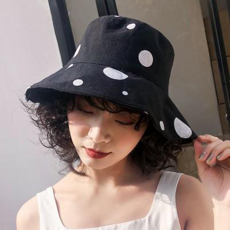 COKK sombrero de mujer Dot sombrero de cubo gorro protección solar ala grande plegable de algodón sombrero de cubo para las mujeres 2020 nueva moda