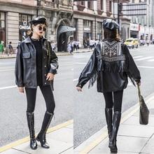 Women Leather 2020 Jacket Fringed Rivet Punk PU Leather Jacket Locomotive Short Coat Motorcycle Outerwear Lady Embroidery Coats