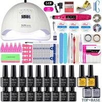 uv led lamp nail set dryer nail gel polish kit manicure tools set electric nail drill grinder cutter nail art tools