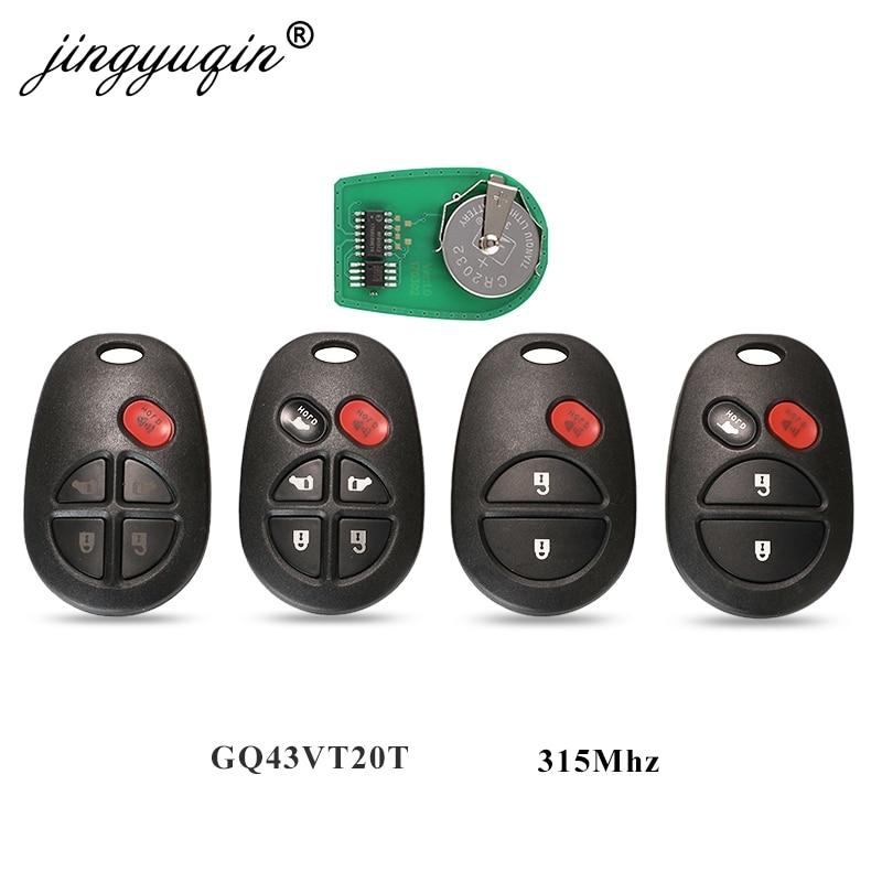 Jingyuqin 5pcs 315Mhz Controle Remoto Chave Do Carro Para Toyota Avalon Highlander Sequoia Sienna Tacoma Tundra GQ43VT20T 3/4/Fob 5/6 BTN