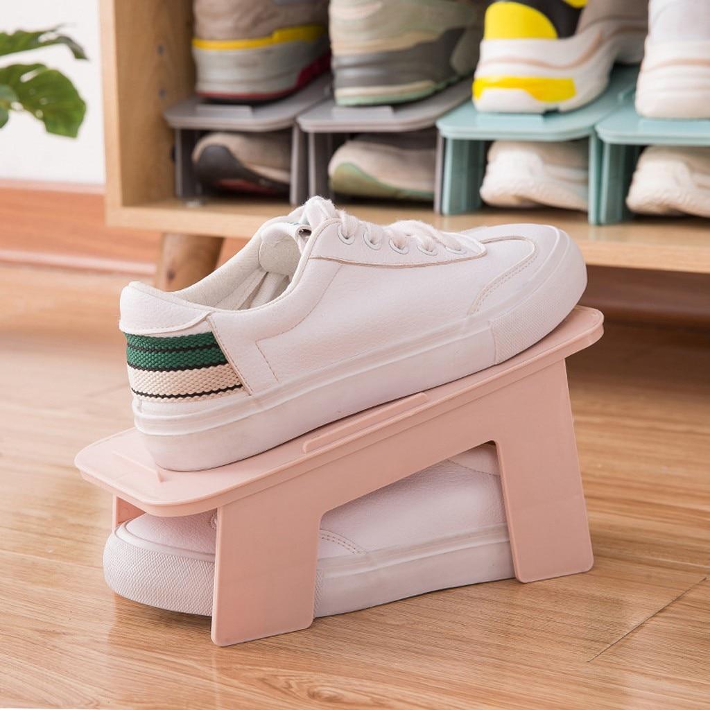 Organizador de zapatos ajustable, duradero y barato, soporte para ranura de zapatos, gabinete ahorrador de espacio, soporte de armario estante de almacenamiento de zapatos Shoebox # LR2