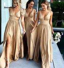 Robe de demoiselle dhonneur, Sexy, col en v latéral, couleur Champagne or, longue et élégante, robe pour la soirée de mariage, grande taille