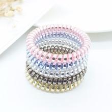 Bandes élastiques multicolores pour les cheveux, en forme de spirale, pour queue de cheval, bande en caoutchouc, fil de téléphone, 5 pièces/ensemble