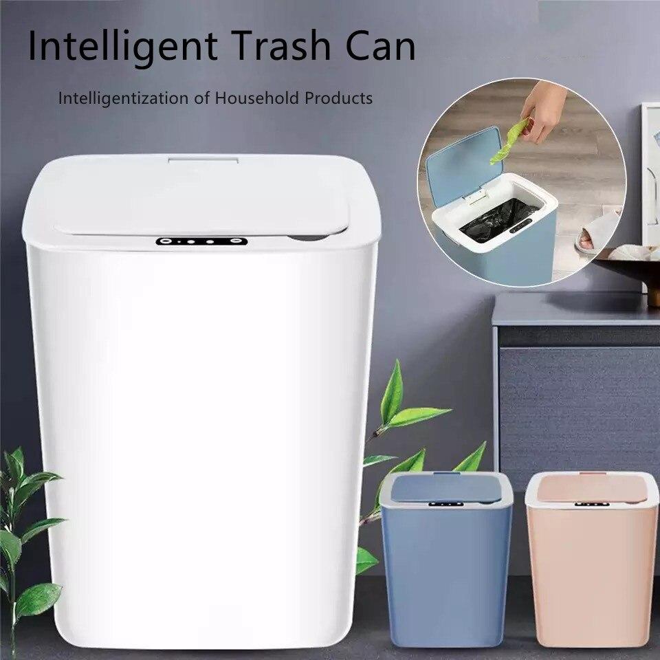 14L حاوية القمامة الذكية التلقائي مستشعر الأشعة تحت الحمراء سلة القمامة المنزلية الأبيض المنزل الذكي الكهربائية القمامة