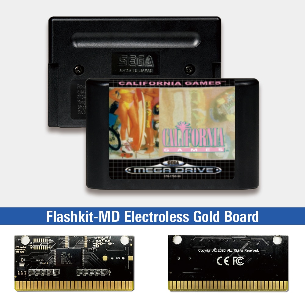 California Games-Tarjeta PCB dorada sin electrodos MD para Sega Genesis Megadrive, Flashkit...