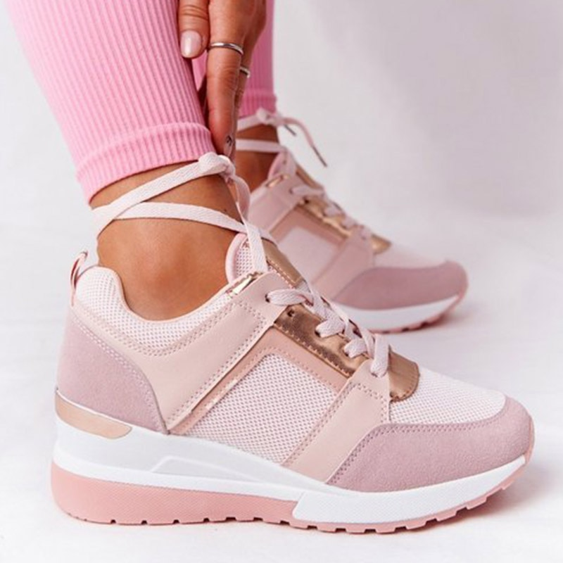 Women Shoes Breathable Leather Lace-Up Sneakers Wedge Sports Shoes Women's Vulcanized Shoes Casual P