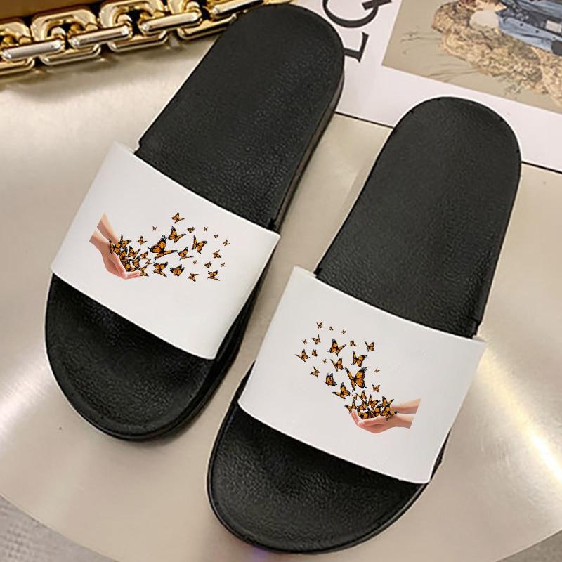2021 Women Sandals Harajuku Flat Bottom Flip Flops Shoes Summer Beach Non-slip Pattern Soft Sole Sli