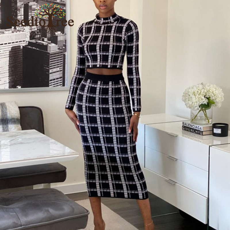 Plaid Office Lady Skinny 2 Piece Set Women Long Sleeve Stand Collar Set